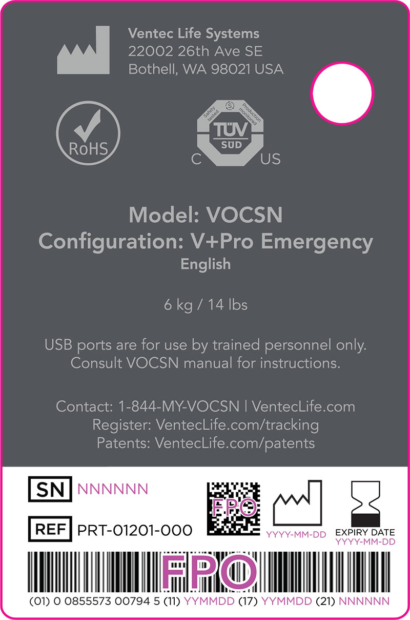 VOCSN V+Pro Emergency Sample Label