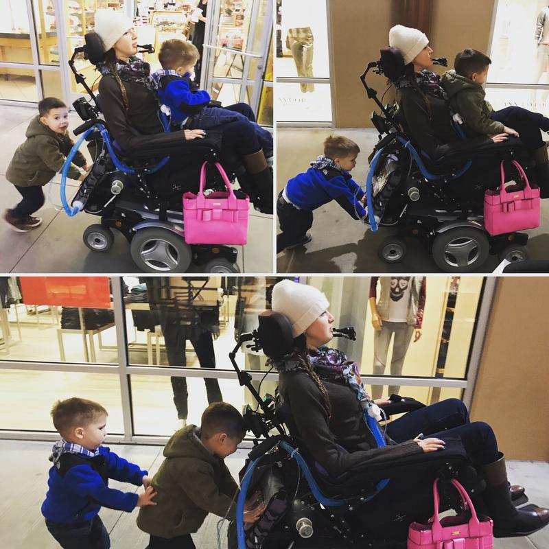 "Christmas shopping with my nephews, who took turns ""helping to push"" my wheelchair and hitching a ride on my lap."